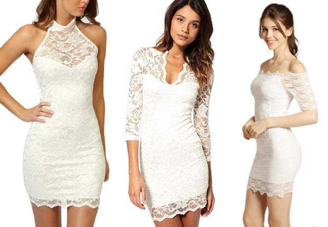 White lace mini dress - 2