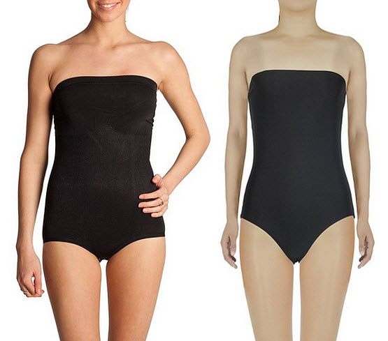 Black strapless leotard - b