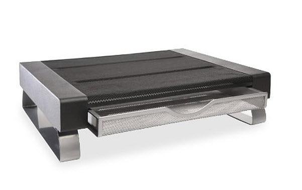Metal computer monitor desktop stand with tray - 2