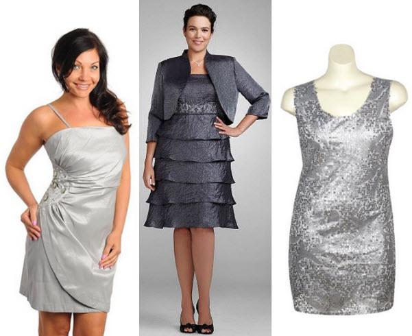Plus size silver dresses - 5