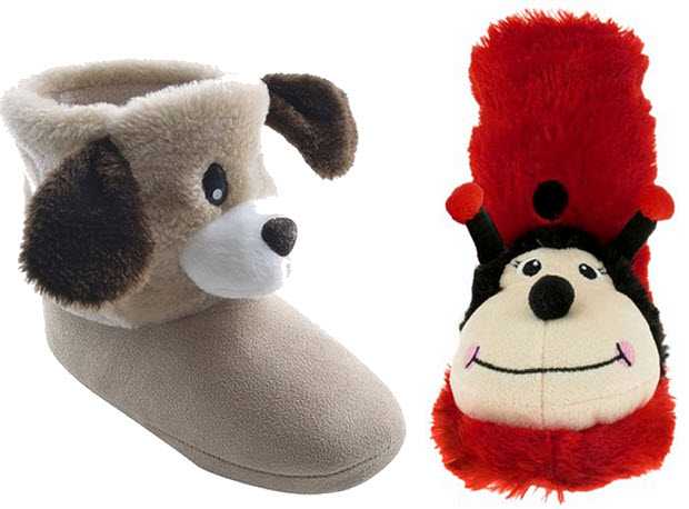 Plush animal boot slippers for kids - 2