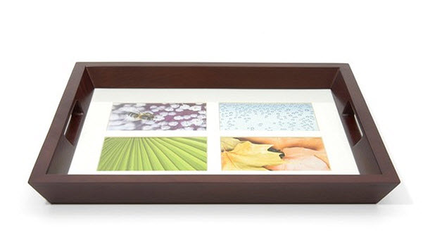 Photo frame wooden serving tray