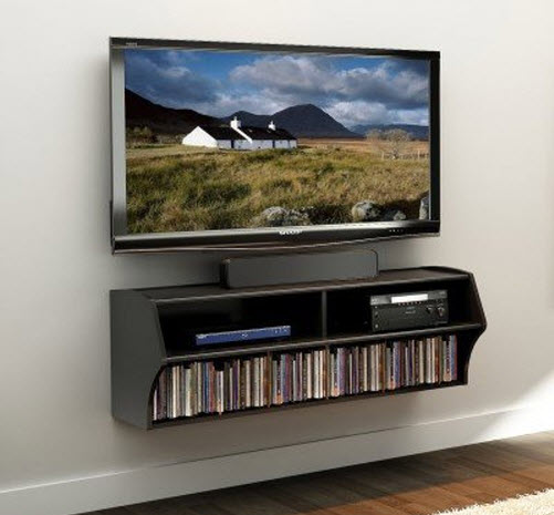 Wall mounted TV stand with shelf
