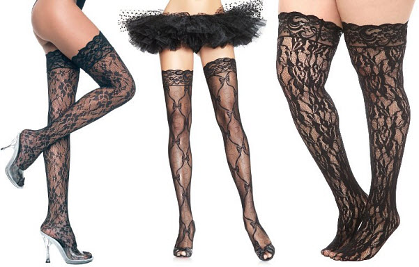 Black lace thigh highs