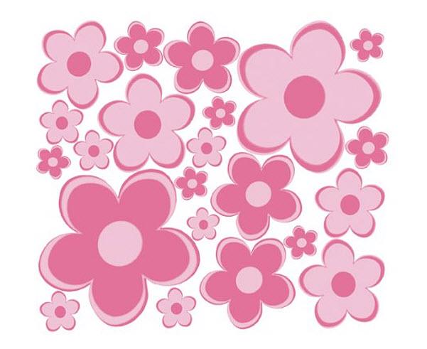 Pink flower decals