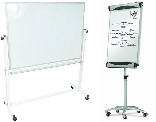 Portable whiteboard on wheels