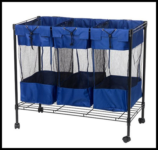 3 bag triple compartment laundry sorter