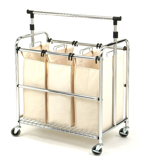 3 section laundry sorter with wheels