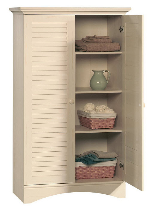 Antique white linen cabinet - 2