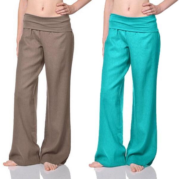 Fold over linen pants - b