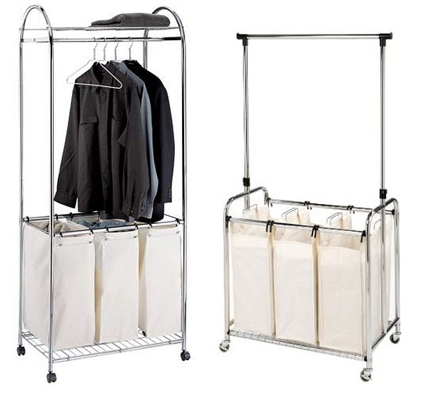 Laundry sorter with hanging bar
