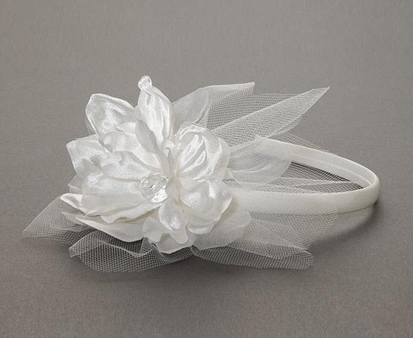 White flower girl headband