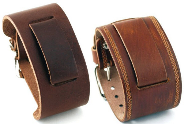 Wide leather watch band