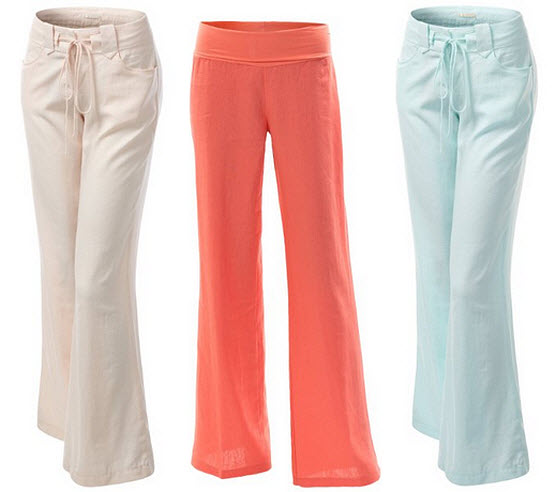 Wide leg linen pants for women - 2