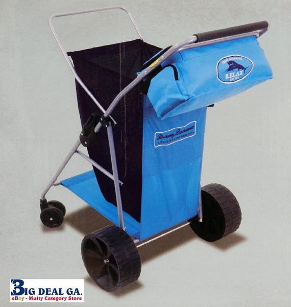 Wide wheel rolling beach cart