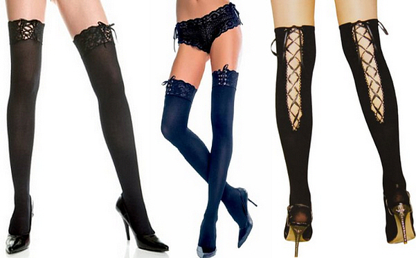 Lace up thigh high stockings - 2