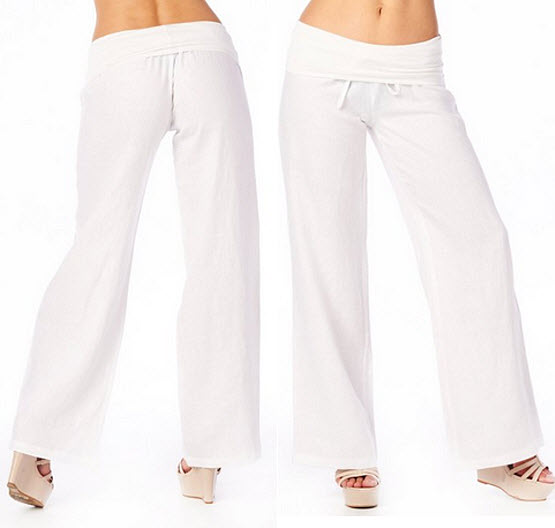 Womens white linen pants - 2