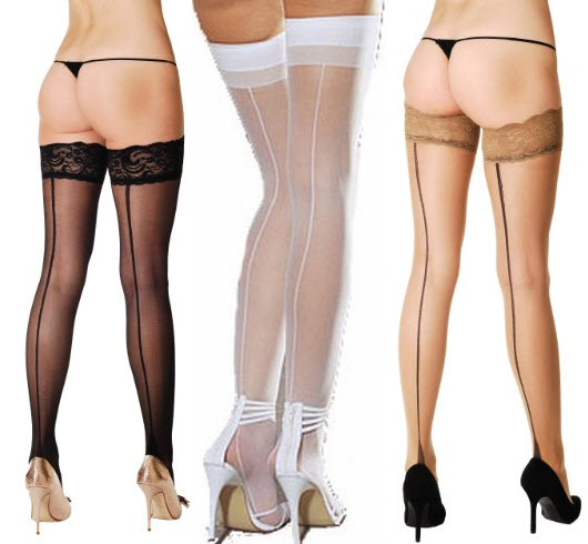 seamed thigh high stockings