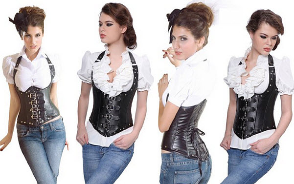 Black underbust corset with straps