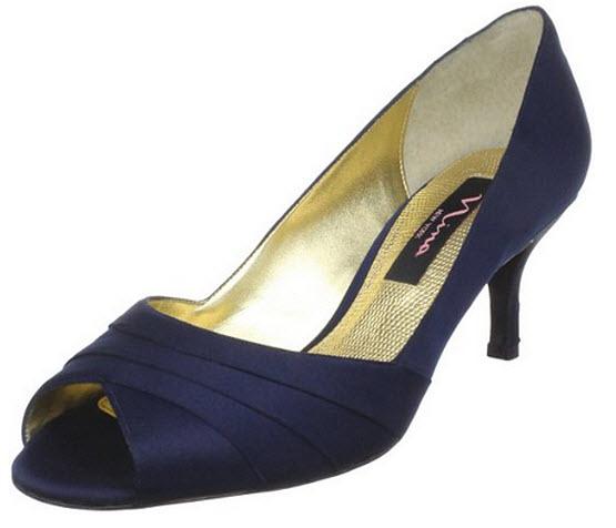 Navy open-toe heels