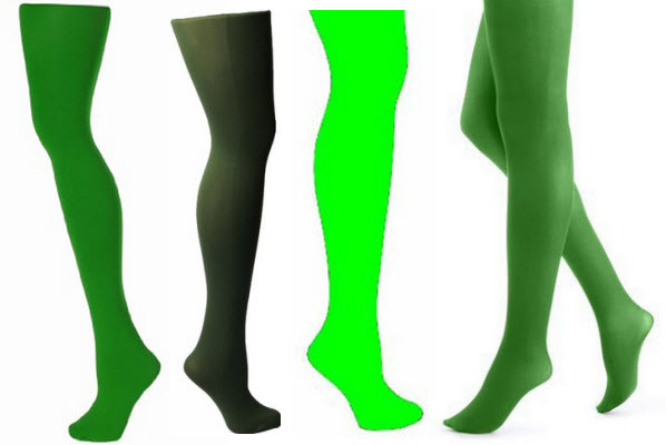 Opaque green tights