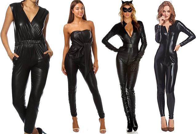 Black faux leather jumpsuit - b