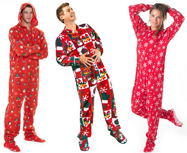 Christmas footie pajamas for adults