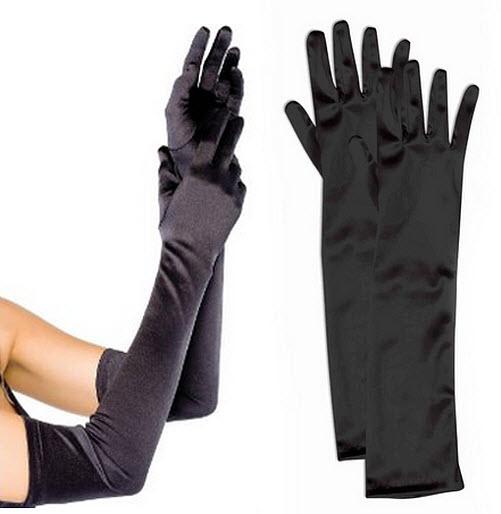 Long black costume gloves