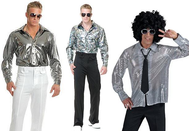 Mens 70's shiny disco shirt