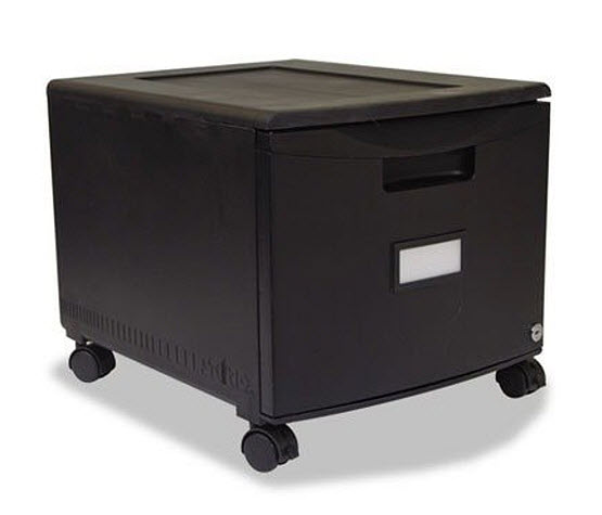 Rolling single drawer file cabinet