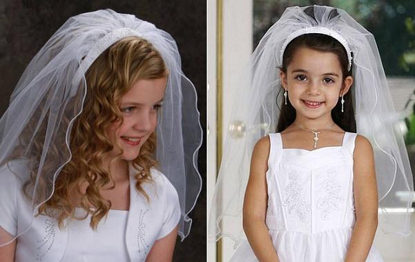 Ivory communion veil head band