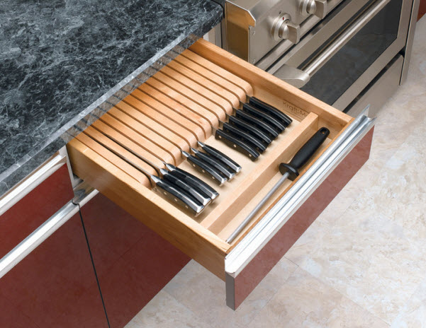 Knife holder drawer insert