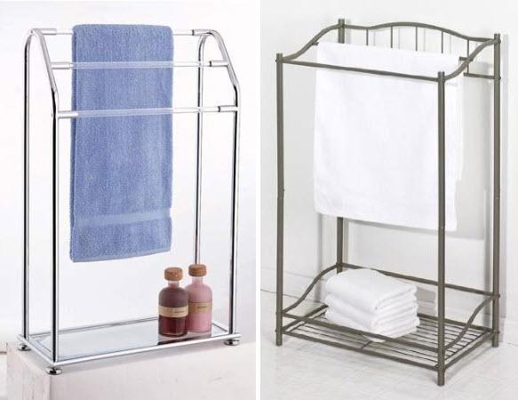 Metal bathroom towel rack