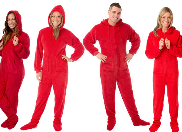 Red footie pajamas for adults