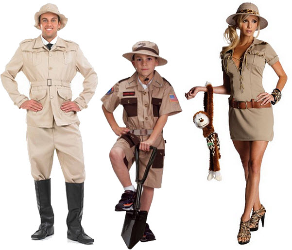 Safari hunter Halloween costumes for men women and kids