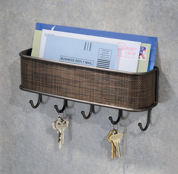 Wall mounted letter holder and key rack - 2