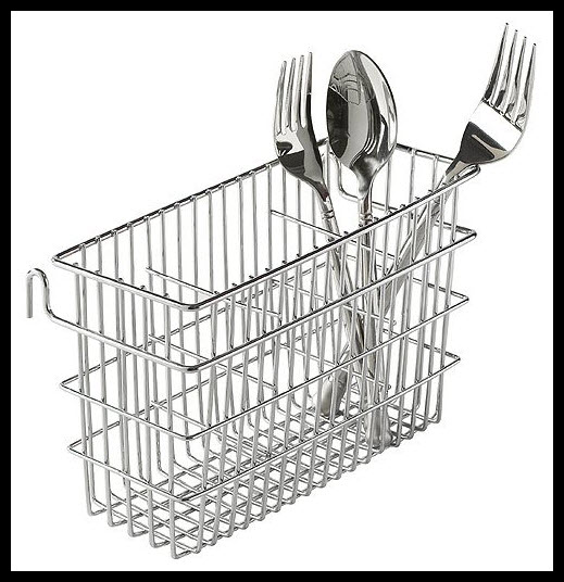 Chrome utensil drainer