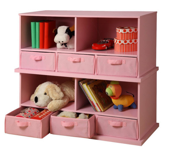 Pink bookcase for kids room
