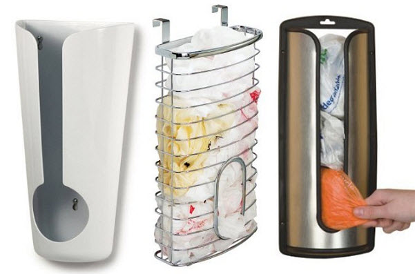 Plastic grocery bag holder-dispenser