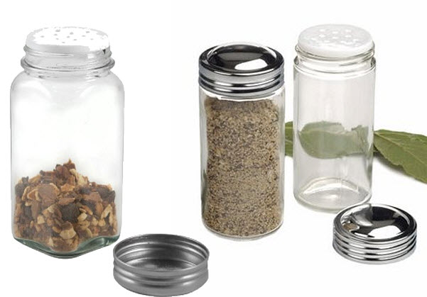 Small clear glass spice jars