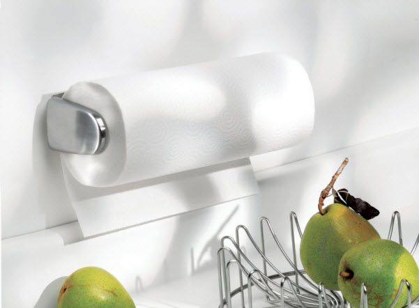 Wall-mount under-cabinet stainless steel paper towel holder