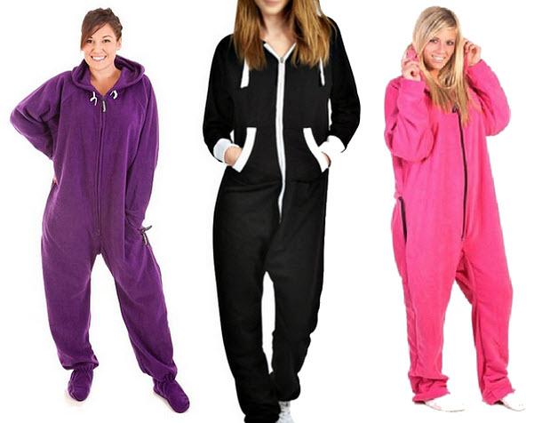 Womens fleece hooded jumpsuit onesie pajamas - b