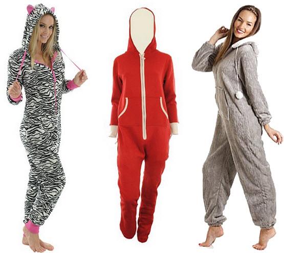 Womens fleece hooded jumpsuit onesie pajamas