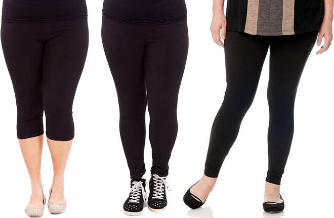 Black plus size leggings for women - 2