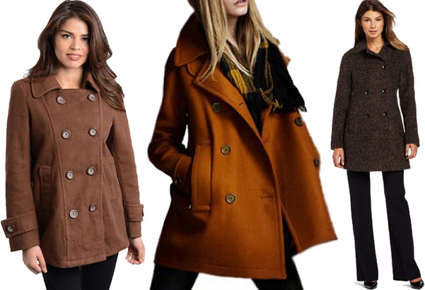 Womens brown peacoat
