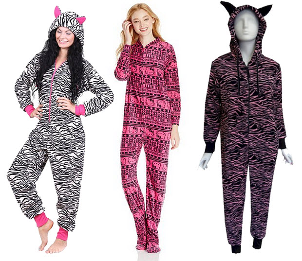 Womens pink one-piece pajamas union suits onesies long johns - c