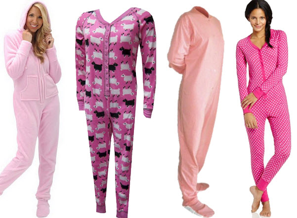 Womens pink one-piece pajamas union suits onesies long johns