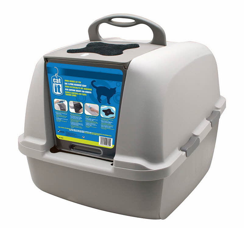 Closed litter box with handle