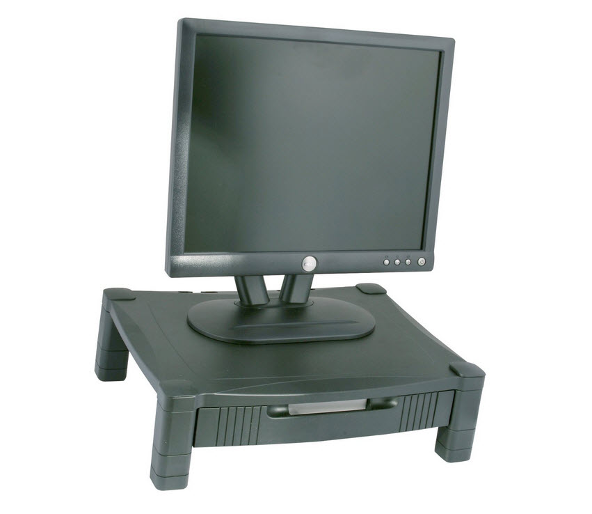 Computer monitor stand with drawer