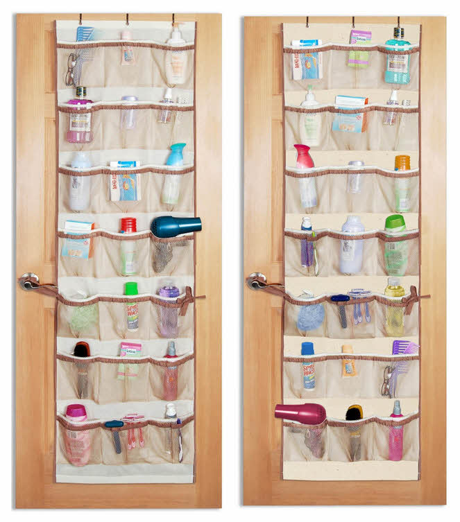 Over-the-door pockets for bathroom or closet